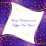 Purple background with gold stars and wave your design. Purple background with gold stars and wave for christmas design Royalty Free Illustration