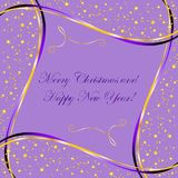Purple background with gold stars and wave your design. Purple background with gold stars and wave for christmas design Stock Illustration