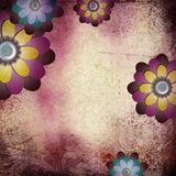 Purple background in grunge style. Background in grunge style with flowers stock illustration