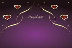 Purple background with hearts, ribbon and dots Stock Image