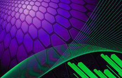 Purple Background of hexagons with diagonal bars stock illustration