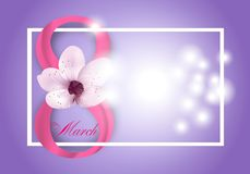 Purple Background for Holiday March 8 International Women`s Day with pink flower and Digit eight. Vector. Illustration vector illustration