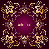 Purple background with luxury gold vintage frame Stock Photos