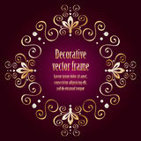 Purple background with luxury gold vintage frame Royalty Free Stock Images