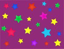 Purple background with multi-colored stars stock illustration