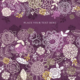 Purple Background Of Hand Draw Flowers, Vector Royalty Free Stock Photos