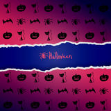 Purple background with pattern of Halloween characters Stock Photo