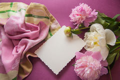 Purple background with peony flowers Royalty Free Stock Images