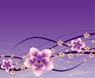 Purple background with pink and gold flowers. Vector, illustration royalty free illustration