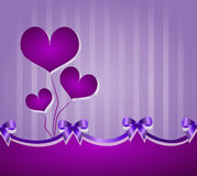Purple background with ribbons and hearts Stock Photo