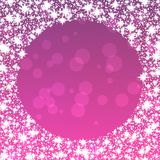 Purple background with round snowflakes border royalty free stock photo