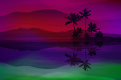 Purple background with sea and palm trees Royalty Free Stock Photography