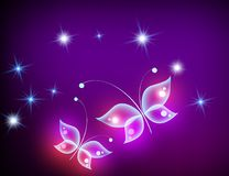 Purple background with shiny butteflies. Glowing background with magic  butterflies and sparkling stars. Purple template for inserting text Stock Photography