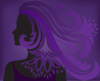 Purple background with a silhouette of a woman Royalty Free Stock Images
