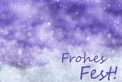 Purple Background, Snow, Snowflakes, Frohes Fest Means Merry Christmas Stock Photo