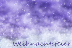 Purple Background, Snow, Snowflakes, Weihnachtsfeier Means Christmas Party Stock Image