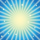 Purple background with stars and radiating light rays. royalty free illustration