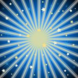 Purple background with stars and radiating light rays. Dark blue background with stars and radiating light rays Stock Image