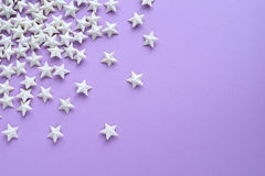 Purple background with stars stock photos