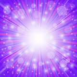 Purple Background. Sun Burst on . Ray Background with Stars Royalty Free Stock Photo