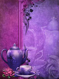 Purple background with a tea pot. And cup Stock Image