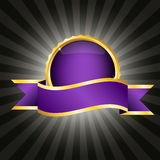 Purple badge with ribbon Royalty Free Stock Photo