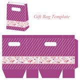 Purple bag template with hearts and dots Stock Photo