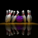 Purple ball does strike! Stock Photo