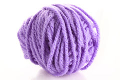 Purple ball of woollen red thread isolated Stock Photo