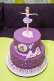 Purple ballerina on birthday cake