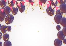 Purple balloons, confetti concept design template Happy backgrou. Nd Celebration Vector illustration. fun decor glitters. Abstract concept graphic tinsel element Stock Photos