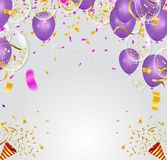 Purple balloons, confetti concept design template Happy backgrou. Nd Celebration Vector illustration. fun decor glitters. Abstract concept graphic tinsel element Royalty Free Stock Image