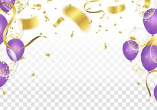 Purple balloons and confetti party vector Illustration of a Part. Y Background with Confetti Curly Ribbons and  Balloons on the upstairs isolated on white Royalty Free Stock Images