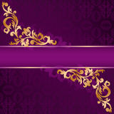 Purple banner with gold ornaments royalty free stock images