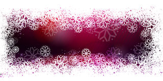 Purple banner with snowflake frame. Happy Holidays, christmas banner. Purple vector background with snowflake frame, winter wreath Stock Photography