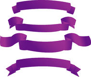 Purple banners. Banners from purple fabric (on white vector illustration
