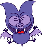 Purple bat celebrating animatedly Stock Images