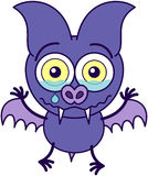 Purple bat crying and feeling sad Royalty Free Stock Images
