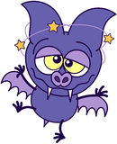 Purple bat feeling dizzy Royalty Free Stock Photo