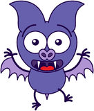 Purple bat feeling surprised and scared royalty free stock image