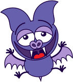 Purple bat laughing animatedly Royalty Free Stock Photography