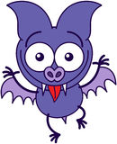Purple bat making funny faces Royalty Free Stock Image