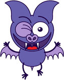 Purple bat winking enthusiastically Stock Photo