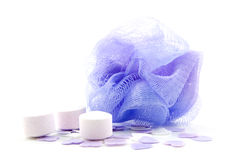 Purple bath sponge with salts Stock Photography