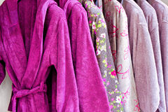 Purple bathrobe Stock Images