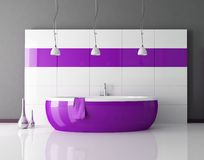 Purple bathroom Stock Photography