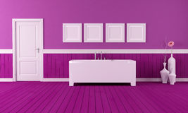 Purple bathroom Stock Image