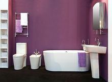 Purple Bathroom Stock Photo