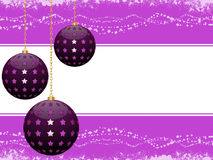 Purple bauble Christmas background. Purple Christmas baubles on a decorated border background vector illustration