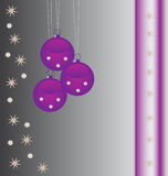 Purple baubles background stock photography
